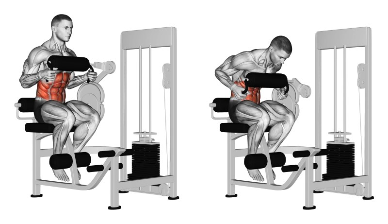 crunch alla macchina con supporto per il torace seduti - esercizio
